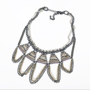 Chico's Beaded Mixed Metal Draped Necklace